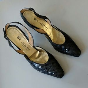 ST. JOHN Slingback Evening Leather Sole Heels